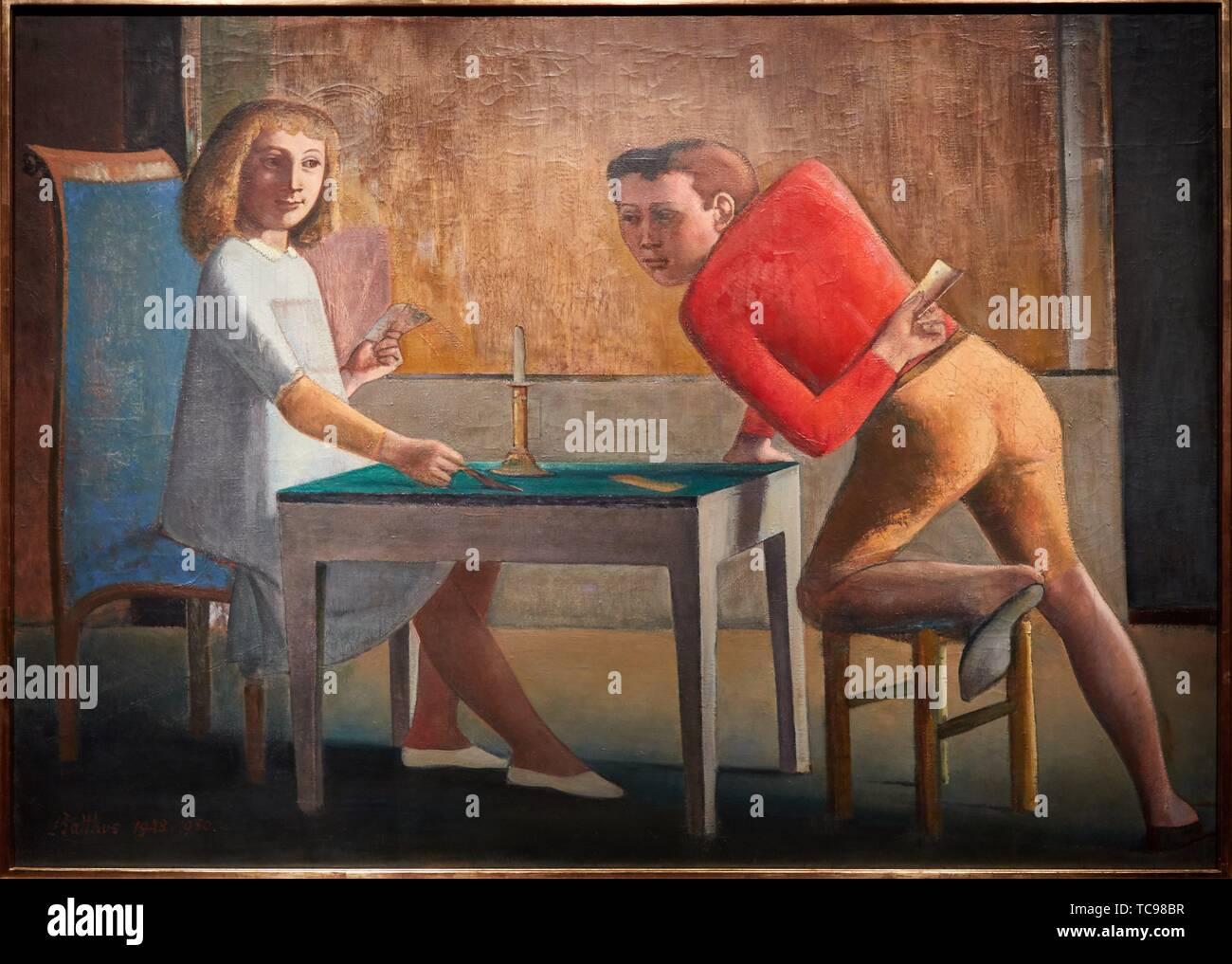 ''' Das Kartenspiel'', 1948-1950, Balthus, Thyssen Bornemisza Museum, Madrid, Spanien, Europa Stockbild
