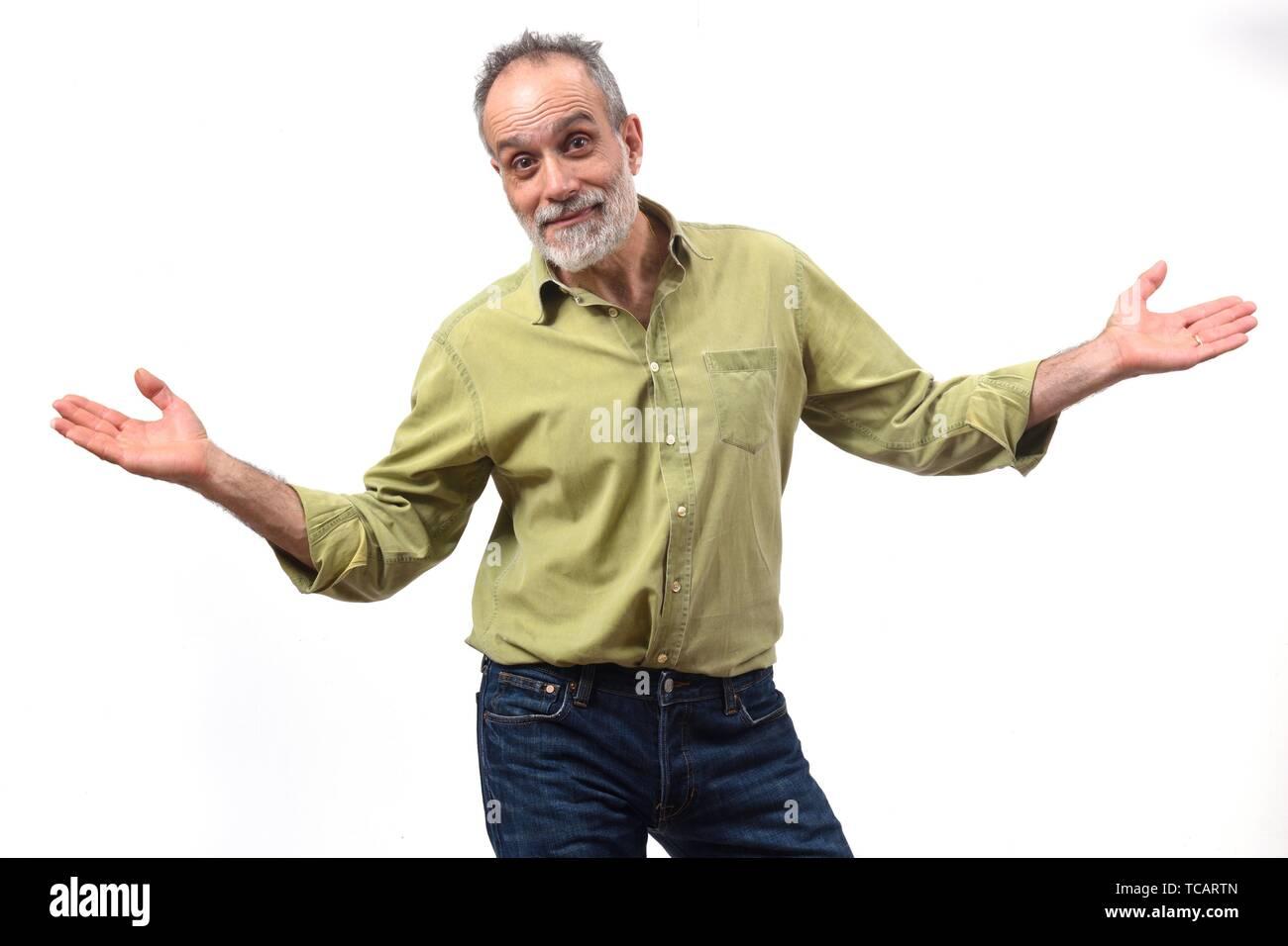 Mann mit Zweifel oder verwirrt Ausdruck auf weißem Hintergrund. Stockbild