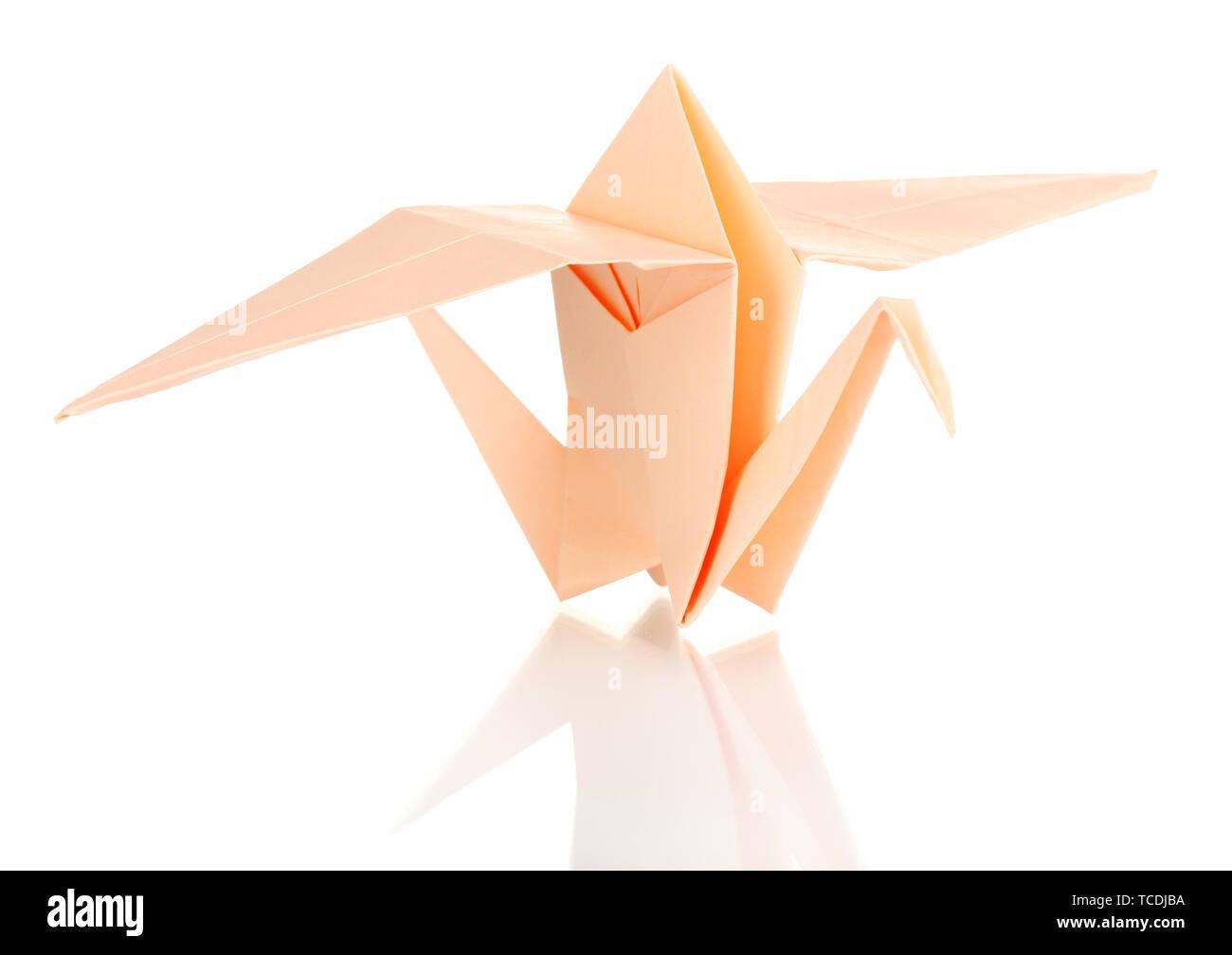 Origami Papier Kran auf Weiß isoliert Stockbild