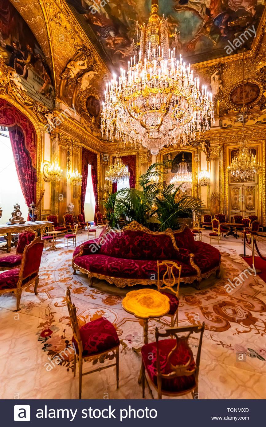 Grand Salon, Schlafzimmer, Napoleon III, Louvre, Paris, Frankreich. Stockfoto