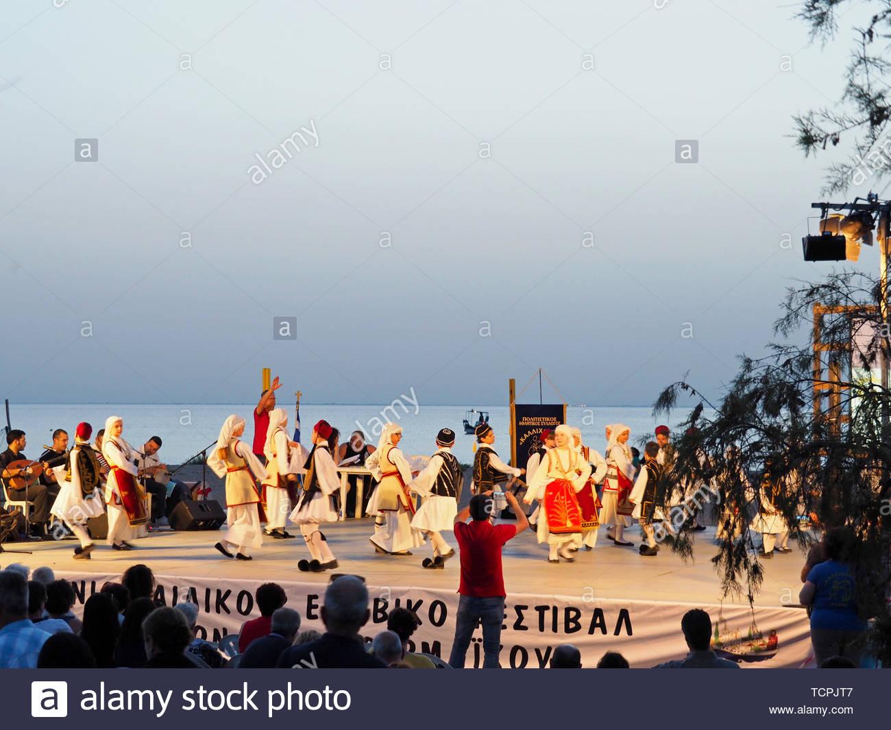 Snapshot des 13. pan-griechische Kinder und Jugendliche traditionelle Tänze Festival von thermaikos Stockbild