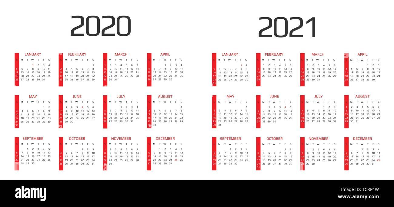 Kalender 2020 und 2021 Vorlage. 12 Monate. gehören Urlaub ...