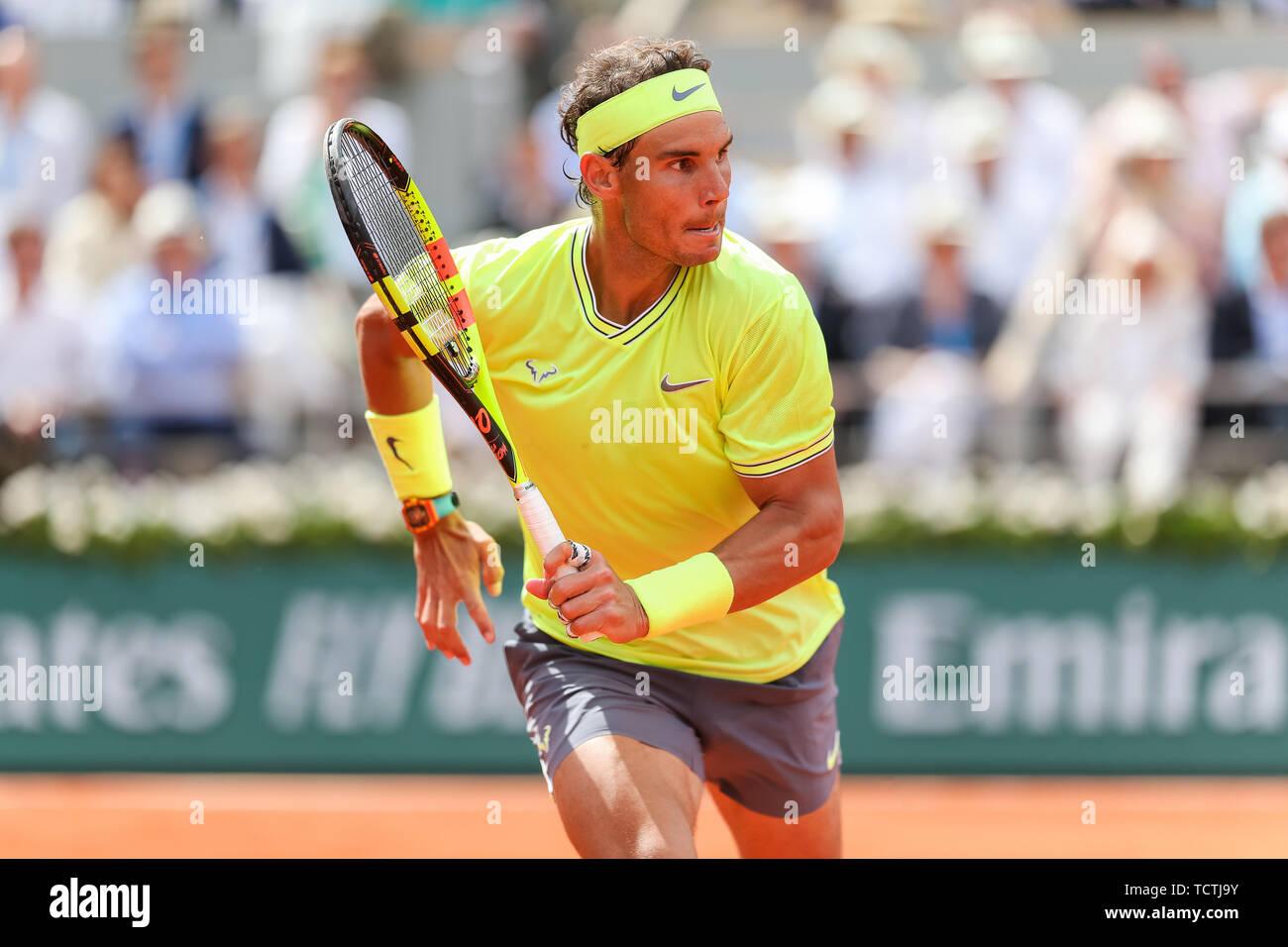 Paris, Frankreich. 09 Juni, 2019. Rafael Nadal aus Spanien während der  Männer singles Finale der French Open Tennis Turnier gegen Dominic Thiem  von Österreich bei der Roland Garros in Paris am 9.