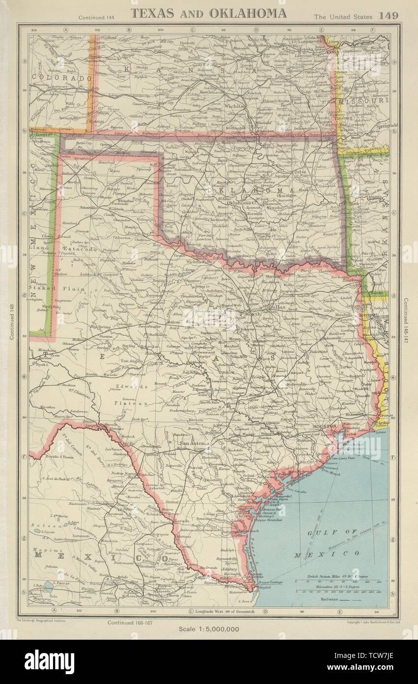Texas Oklahoma Usa State Map Stockfotos & Texas Oklahoma Usa ...