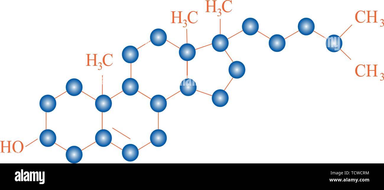 Cholesterin molekulare Struktur Stockbild