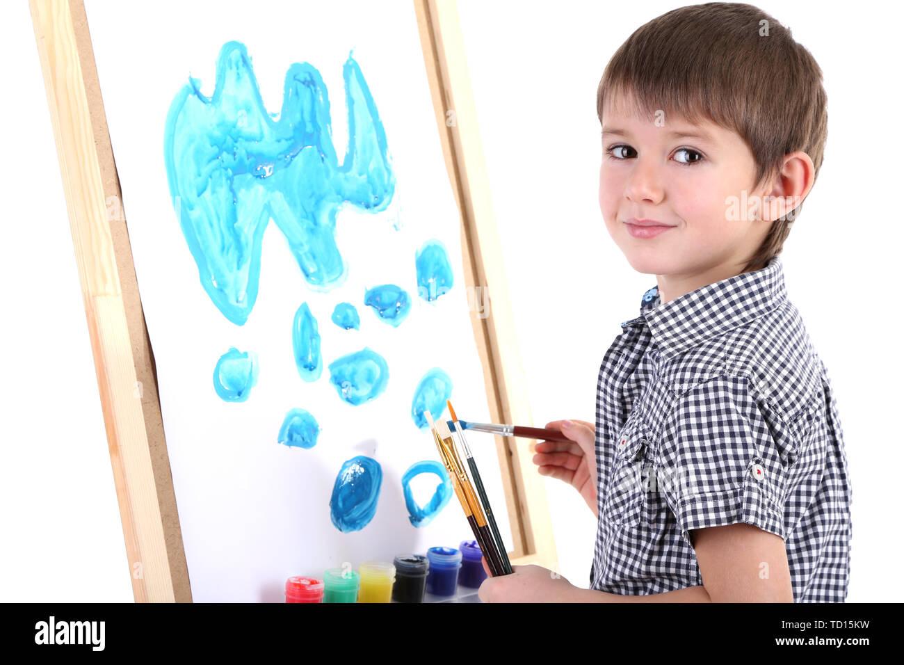 Kleiner Junge Malerei Malt Auf Staffelei Isoliert Auf Weissem Stockfotografie Alamy