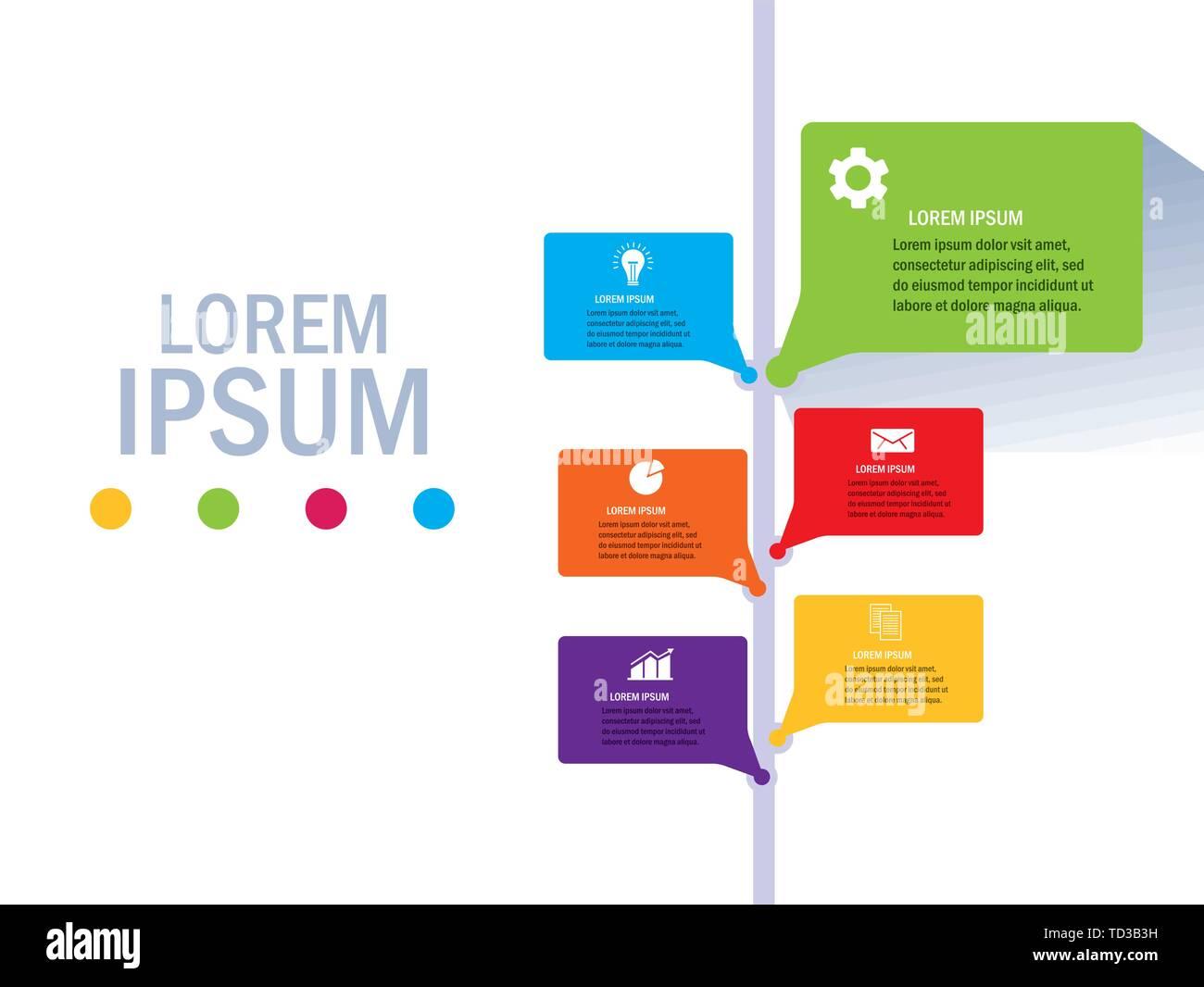 Workflow Design, Infografik Daten Informationen Business Analytics und visuelle Präsentation Thema Vector Illustration Stock Vektor