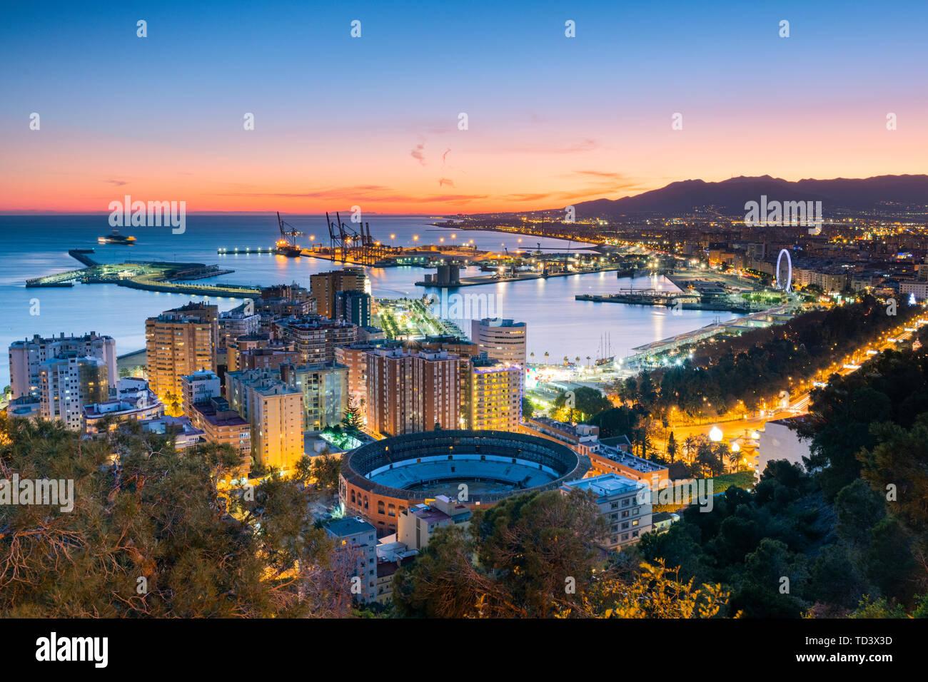 Gibralfaro Viewpoint, Malaga, Costa del Sol, Andalusien, Spanien, Europa Stockfoto