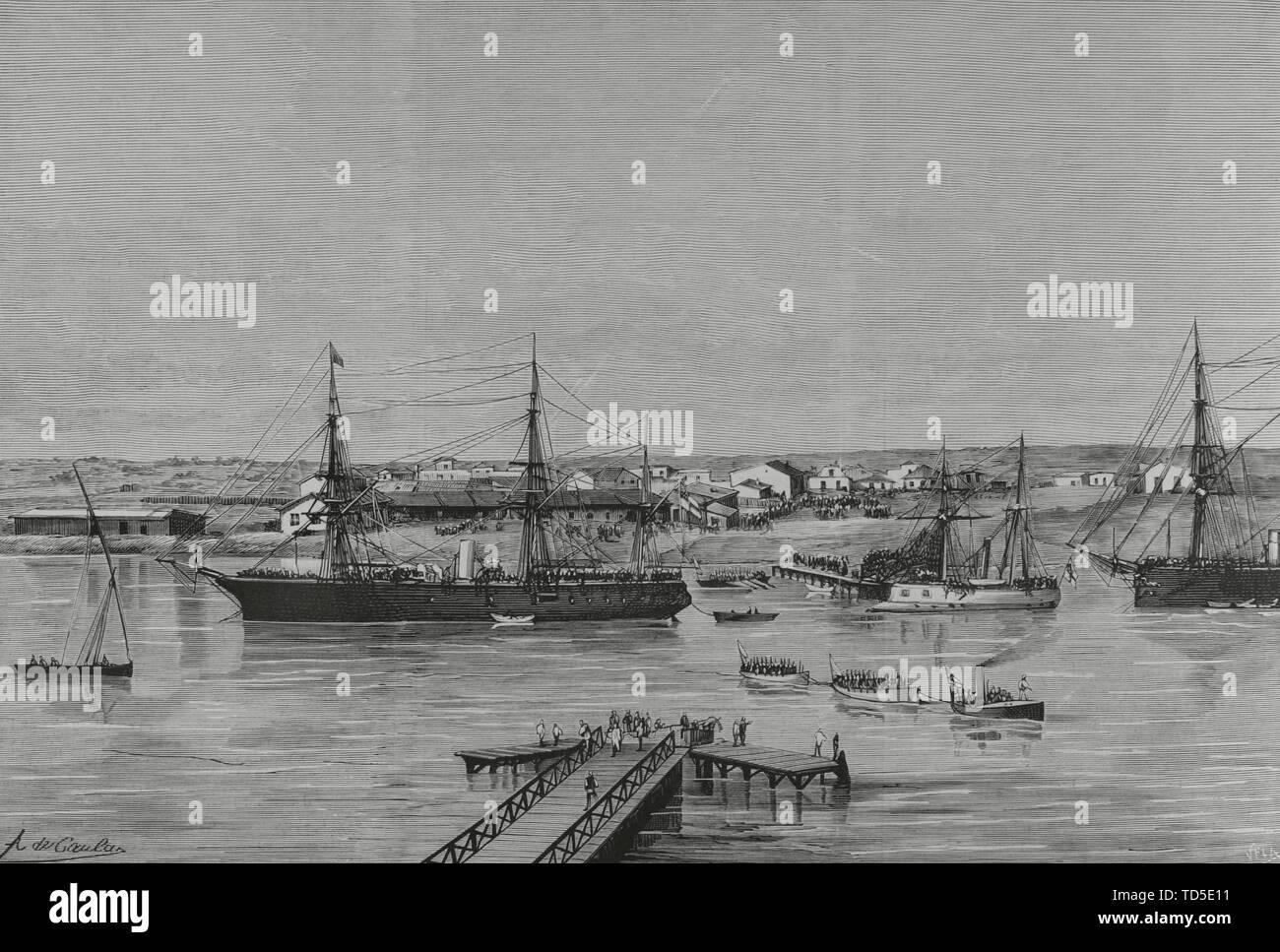 Ocupación de Egipto por el Ejército británico, 1882. El Canal de Suez, ocupado por los Ingleses. Estación de'El Kantarah' (El Puente del Tesoro). Dibujo por A. de Caula. Grabado por Vela. La Ilustración Española y Americana, 30 de Agosto de 1882. Stockfoto