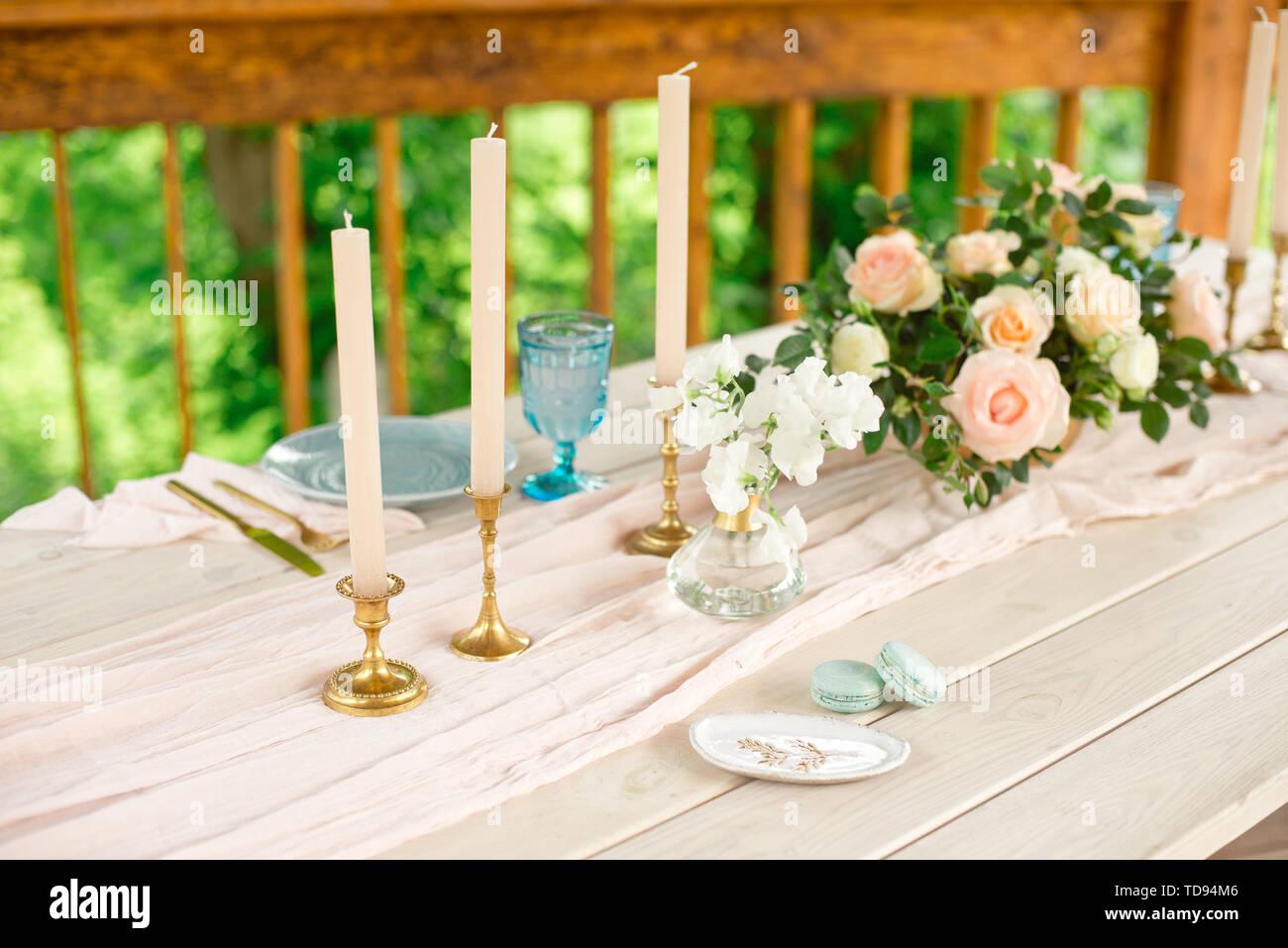 Hochzeit Dekoration Tisch Im Garten Blumenschmuck Kerzen