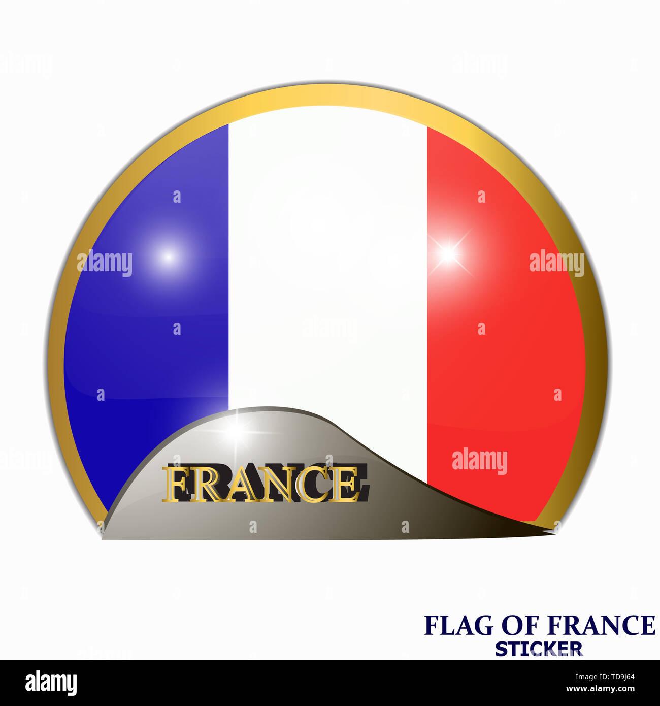 In Frankreich Aufkleber Gemacht Banner Abbildung Mit Flagge