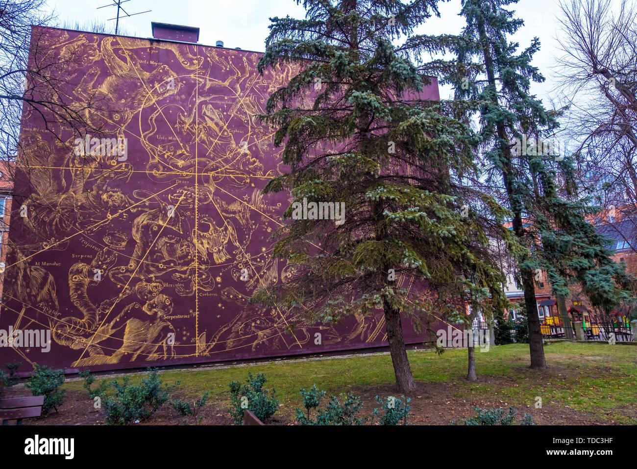Polen Karte 2019.Danzig Polen 05 Februar 2019 Sternenhimmel Karte An Der