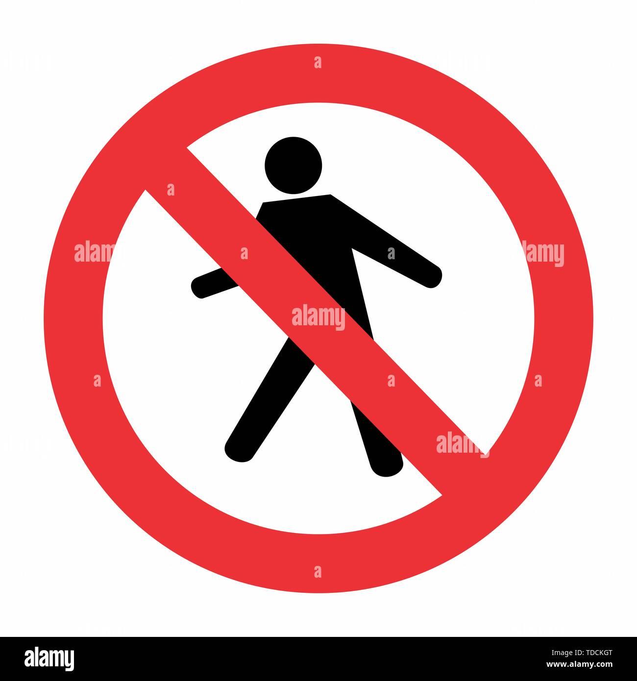 Keine Fußgänger Zeichen auf weißem Hintergrund Stockbild