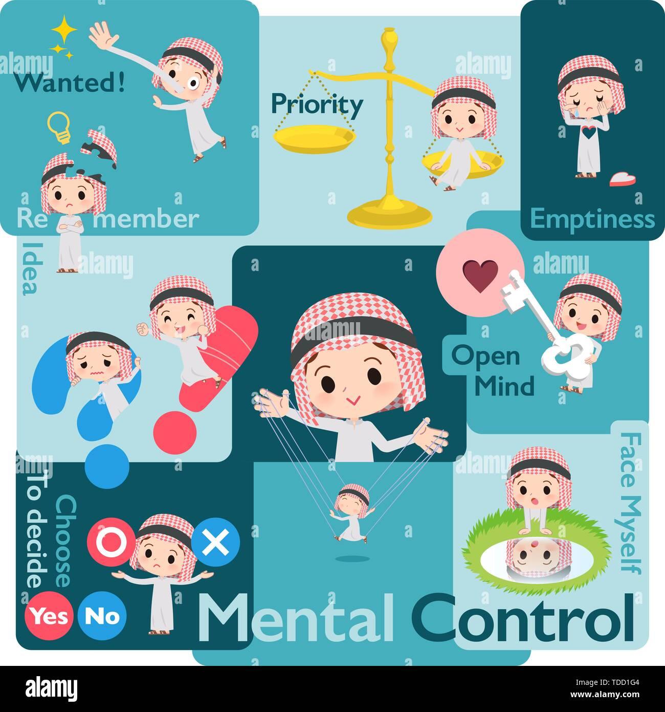 Eine Reihe von islamischen Junge, Emotionen steuern. Eine Vielzahl von Bild Abbildungen zum Ausdruck selbst Emotion. Es ist Vektor Kunst so ist es leicht zu bearbeiten. Stockbild