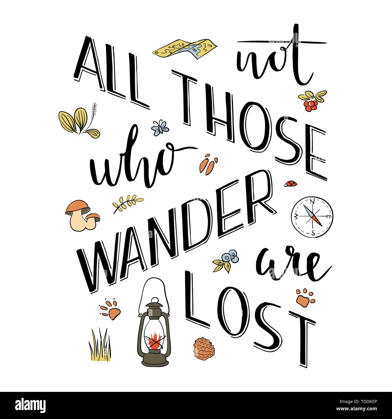 Nicht alle, die wandern gehen verloren. Hand schrift Typografie Poster. Motivierende Angebot. Laterne, Kompass, Karte, tierische Spuren. Für optimistisch, Design, Stockbild