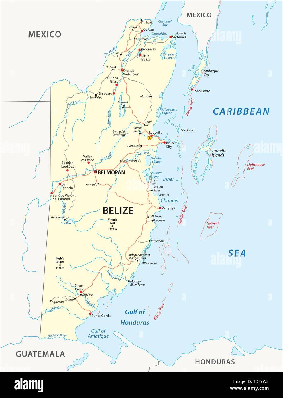 Straßenkarte des mittelamerikanischen Staates Belize Stockbild