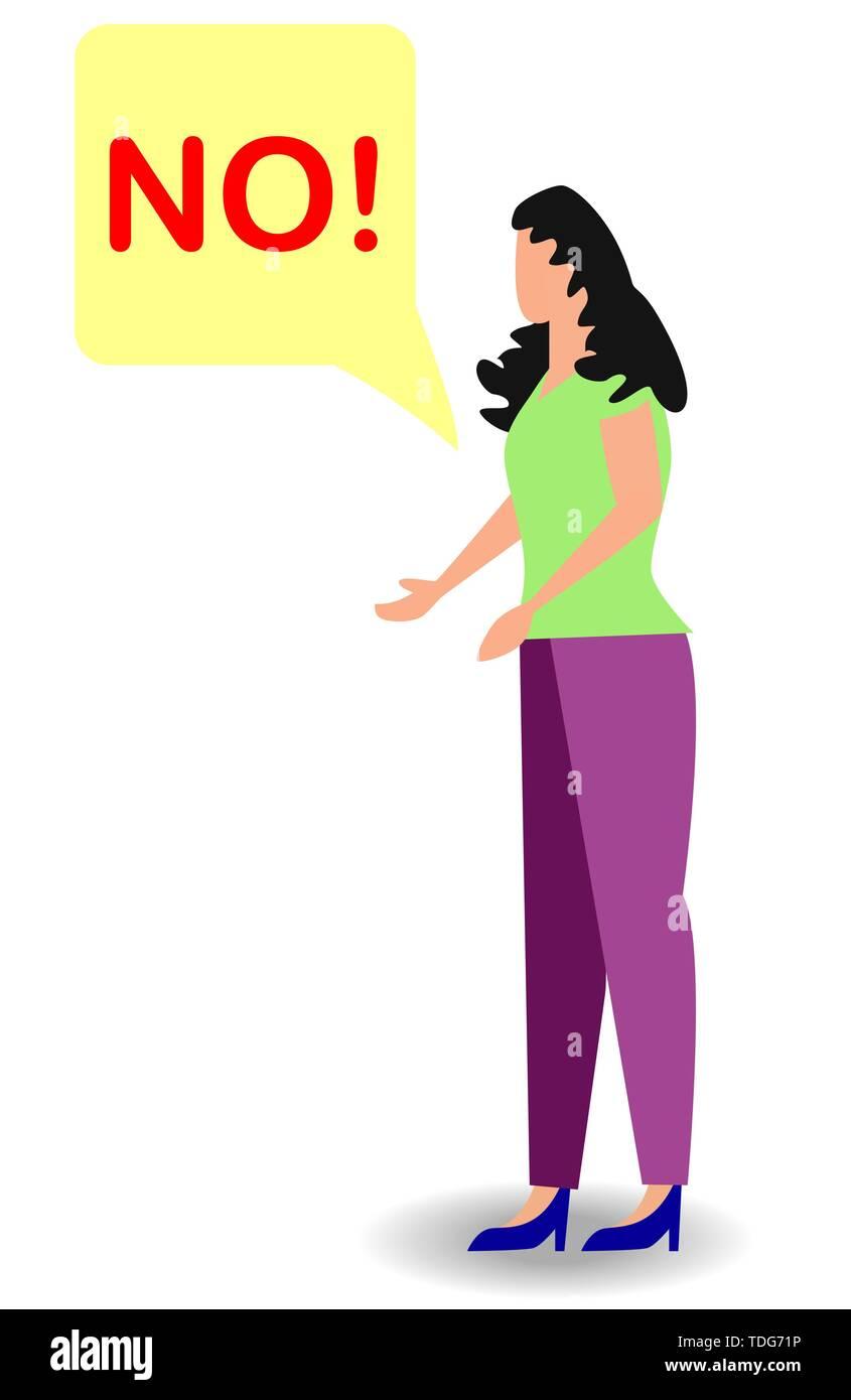 Cartoon illustation nicht wütend schreiende Frau. Rebel anngry Frau brüllen. Sprechblase mit Scream exclemation. Stockbild