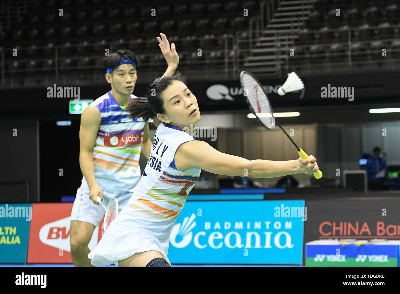 Chan Peng Bald und Goh Liu Ying (Malaysia) in Aktion gesehen, während der 2019 australischen Badminton Open Mixed Doppel Viertelfinale Spiel gegen Praveen Jordanien und Melati Daeva Oktavianti (Indonesien). Chan und Goh verloren das Match 18-21, 20-22. Stockbild