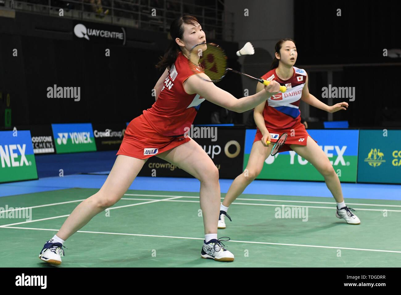 Mayu Matsumoto und Wakana Nagahara (Japan), die in Aktion während der 2019 Doppel Viertelfinale australische Badminton Open gesehen Match gegen Apriyani Rahayu und Graysia Polii (Indonesien). Matsumoto und Nagahara verloren das Match 19-21, 18-21. Stockbild