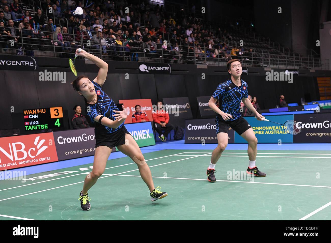 Tang Chun Mann und Tse-Ying Suet (Hong Kong), die in Aktion während der 2019 australischen Badminton Open Mixed semi-finale Match gegen Wang Dongping Yilyu und Huang (China). Tang und Tse verloren das Match 13-21, 10-21. Stockbild