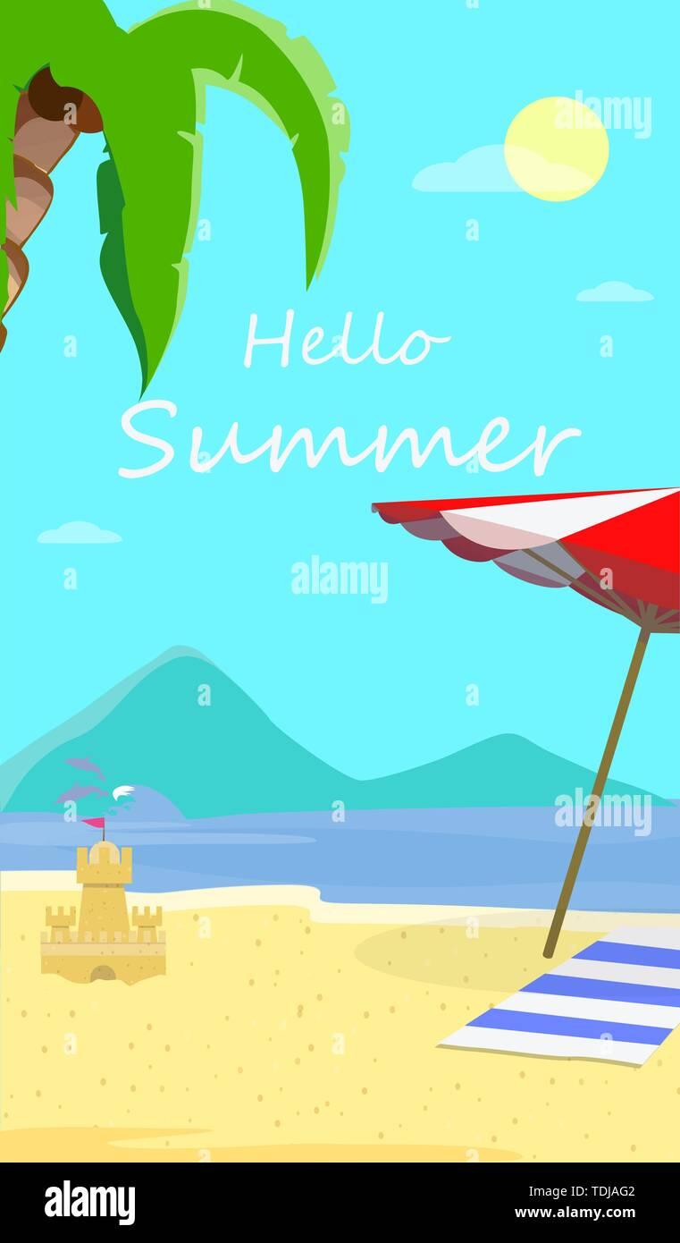 Hallo Sommer Strand Hintergrund mit Marine, Delphine, Sonnenschirm, Handtuch und Sandy Schloss. Reisen Grußkarte für Sommer Urlaub, Ferien Stockbild