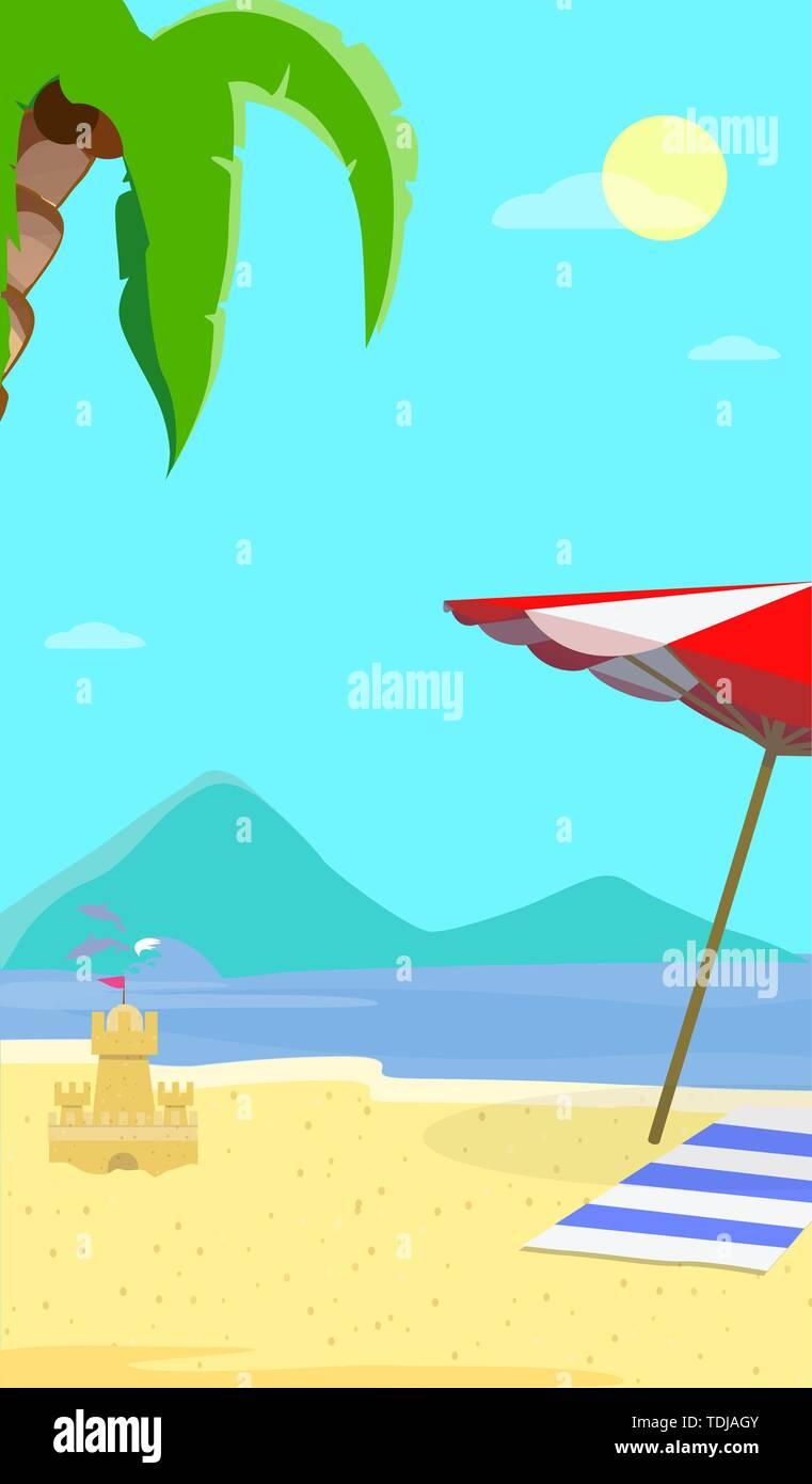 Sommer Meer Strand Hintergrund mit Landschaft Tag Zeit, Delphine, Sonnenschirm, Handtuch, Sand Castle. Reisen Postkarte für Sommer Urlaub, Ferien Stockbild