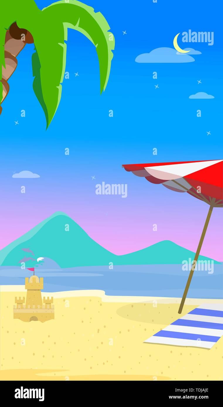 Sommer Strand Hintergrund mit Marine, Delphine, Sonnenschirm, Handtuch und Sandy Schloss. Reisen Grußkartenvorlage für Sommer Urlaub, Holid Stockbild