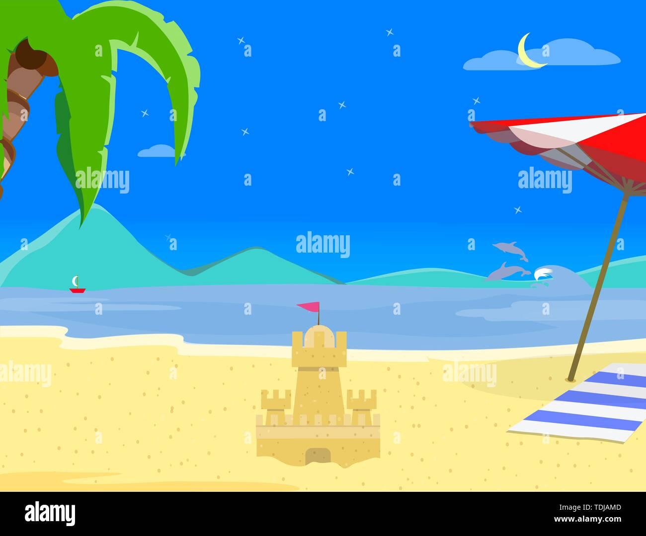 Sommer Strand Hintergrund in der Nacht Zeit, Sand Castle, Nacht, Landschaft von exotischen Küste, asiatische Thailand Resort Seascape Sandy Shore Poster, Flyer Te Stockbild