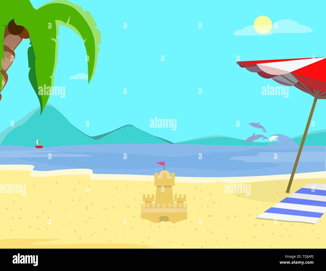 Sommer Strand Hintergrund, Tag Zeit leere Landschaft, exotische Meer mit Sand Castle Resort, Küste, Meer, Palmen, Delphine, Segelschiff, Sandy Sh Stockbild