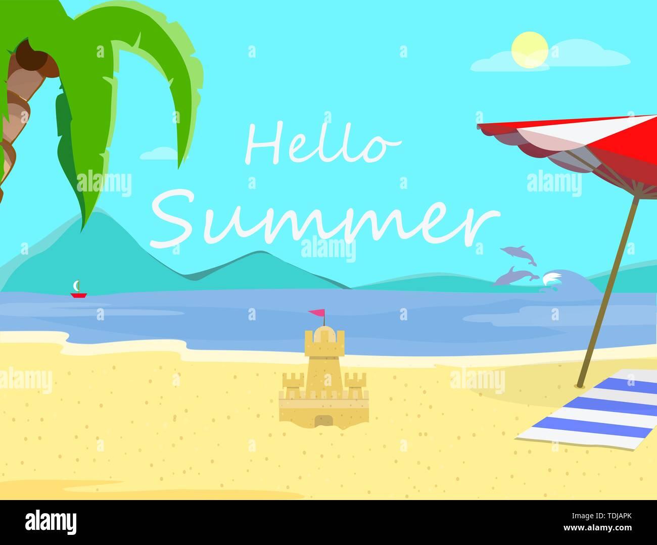 Hallo Sommer Strand Hintergrund mit Küste Marine, Delphine, Sonnenschirm, Handtuch, Sand Castle. Reisen Postkarte für Sommer Urlaub, Holida Stockbild