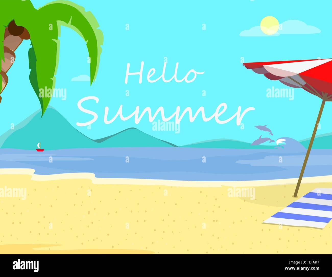 Hallo Sommer Strand Hintergrund mit Marine, Delphine, Sonnenschirm, Handtuch und Segelschiff. Reisen Grußkarte für Sommer Urlaub, Ferien Stockbild