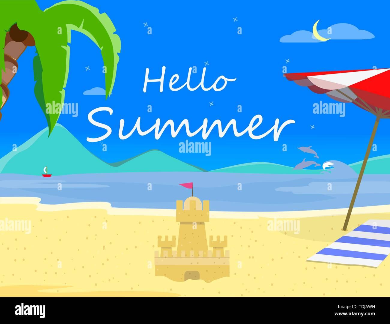 Strand Hintergrund mit Hallo Sommer Typografie und Sand Castle, Nachts Landschaft von exotischen Küste, asiatische Thailand Resort Seascape Sandy Shore Post Stockbild