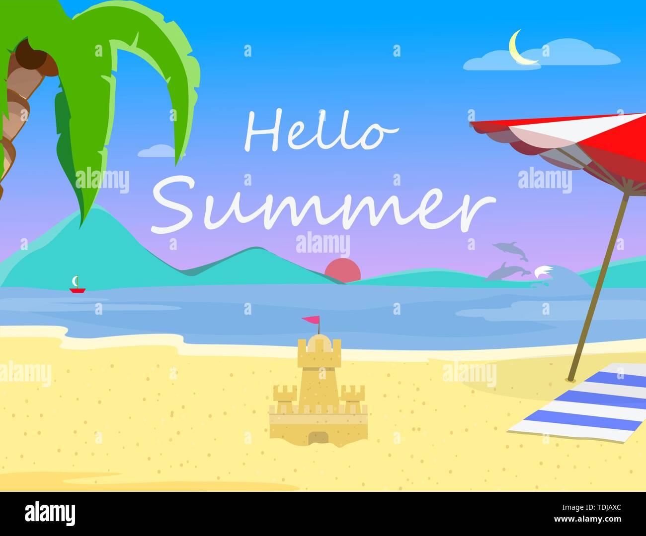 Strand Hintergrund mit Hallo Sommer Typografie und Sand Castle, Abend oder Morgen Landschaft von exotischen Strand bei Sonnenuntergang, Sonnenaufgang, Seascape Resort San Stockbild