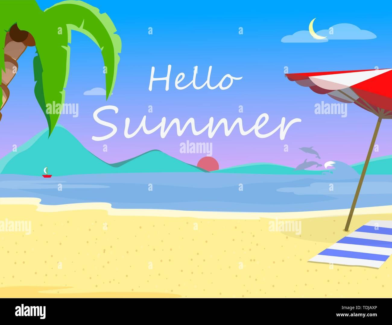 Strand Hintergrund mit Hallo Sommer Typografie, Abend oder Morgen Zeit, exotische Landschaft am Meer bei Sonnenuntergang, Sonnenaufgang, Resort Küste Meereslandschaft mit Palm Stockbild