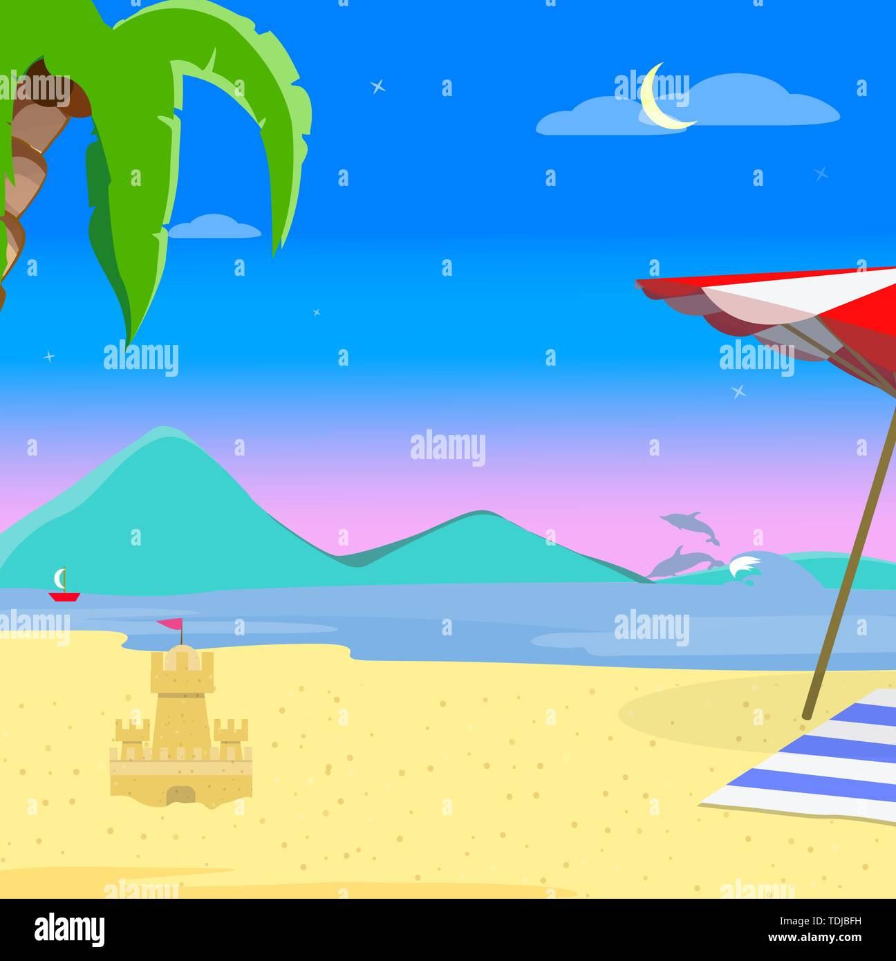 Sommer Strand Hintergrund, am Abend exotische Landschaft am Meer bei Sonnenuntergang Sonnenuntergang, Resort Küste Meereslandschaft mit Palme, Delphin, Segelschiff und Sa Stockbild
