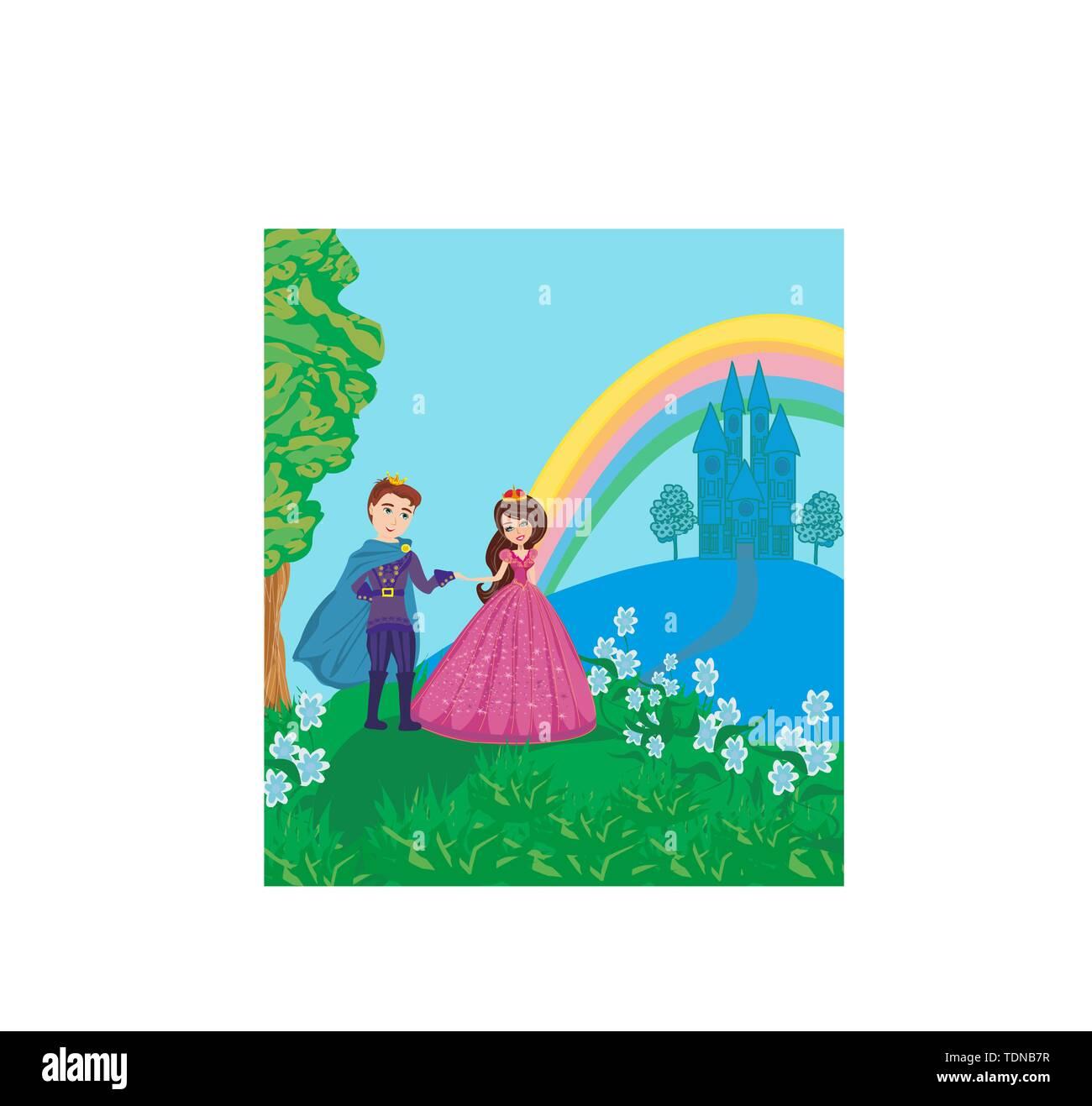 Prinzessin und Prinz in schönem Garten Stockbild