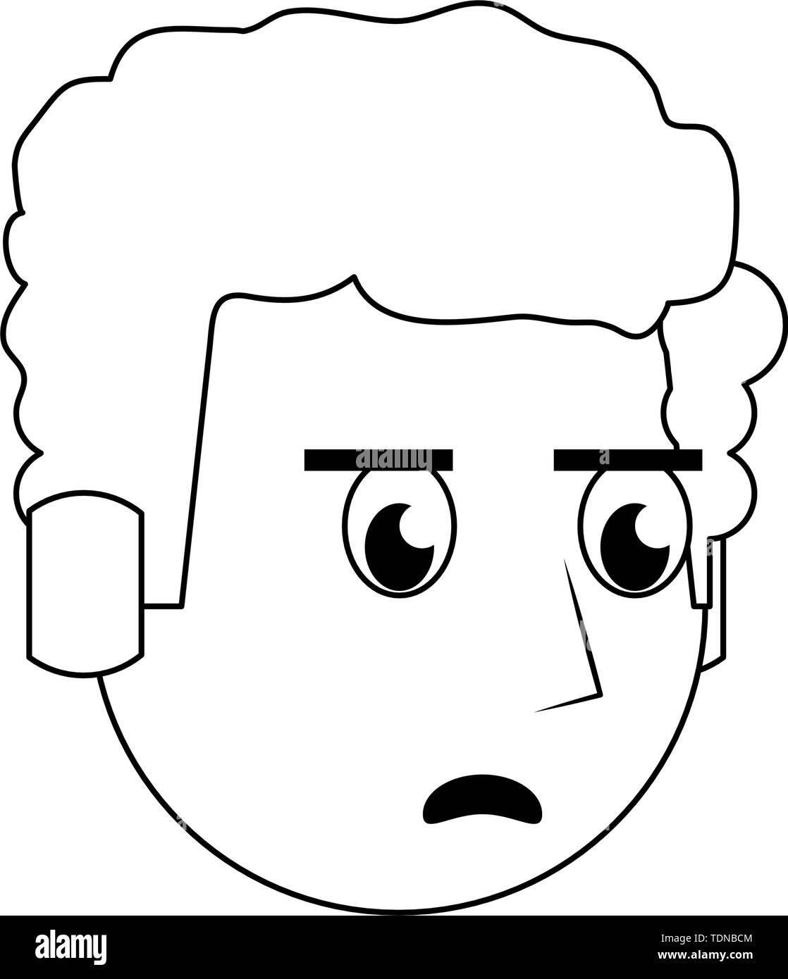 Mann afro wütend Kopf Charakter cartoon Vector Illustration grafik design Gesicht Stockbild