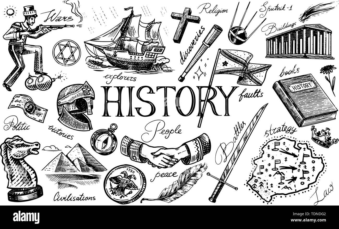 Die Geschichte der Menschen, Bildung und Wissenschaft, Religion und Reisen, Entdeckungen und alte Symbole. Retro Schiff, Schach und Handshake, Krieger und Stockbild