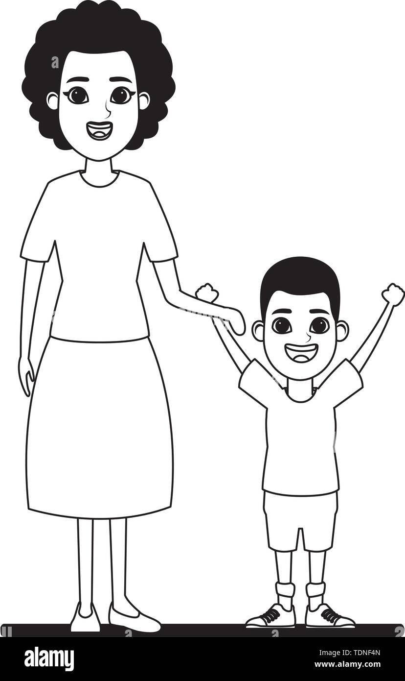 Familie avatar afroamerican Großmutter Neben afroamerican junge Profil Bild Cartoon Character portrait in Schwarzweiß Vektor-illustration grap Stockbild
