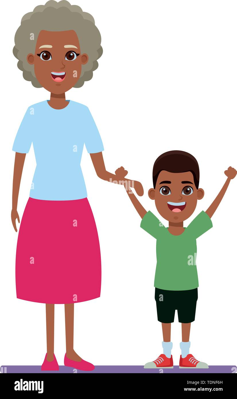 Familie avatar afroamerican Großmutter Neben junge Profil Bild cartoon afroamerican Charakter portrait Vector Illustration graphic design Stockbild