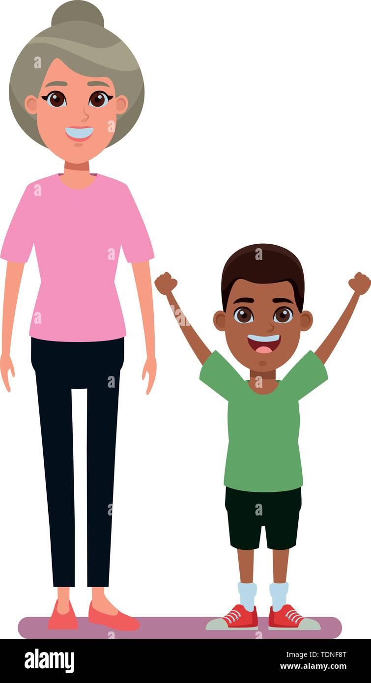 Familie avatar Großmutter mit bun Neben junge Profil Bild cartoon afroamerican Charakter portrait Vector Illustration graphic design Stockbild