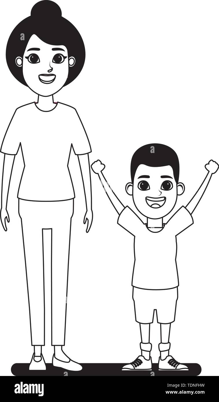 Familie avatar Großmutter mit bun Neben afroamerican junge Profil Bild Cartoon Character portrait in Schwarzweiß Vector Illustration Grafik Stockbild