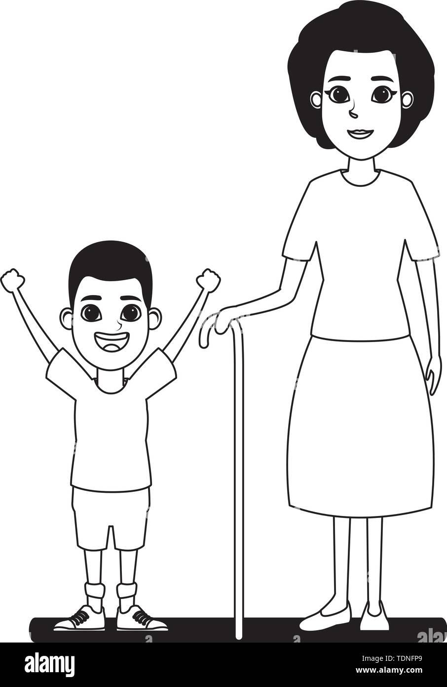Familie avatar Großmutter mit Zuckerrohr Neben afroamerican junge Profil Bild Cartoon Character portrait in Schwarzweiß Vector Illustration Grafik Stockbild