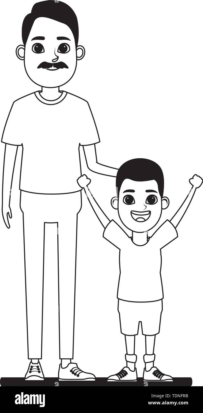 Familie avatar Großvater mit Schnurrbart Neben afroamerican junge Profil Bild Cartoon Character portrait in Schwarzweiß Vektor-illustration gr Stockbild
