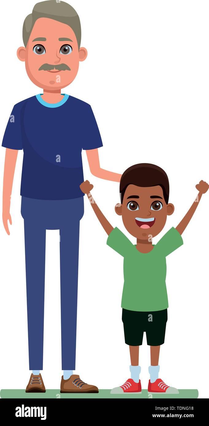 Familie avatar Großvater mit Schnurrbart Neben junge Profil Bild cartoon afroamerican Charakter portrait Vector Illustration graphic design Stockbild