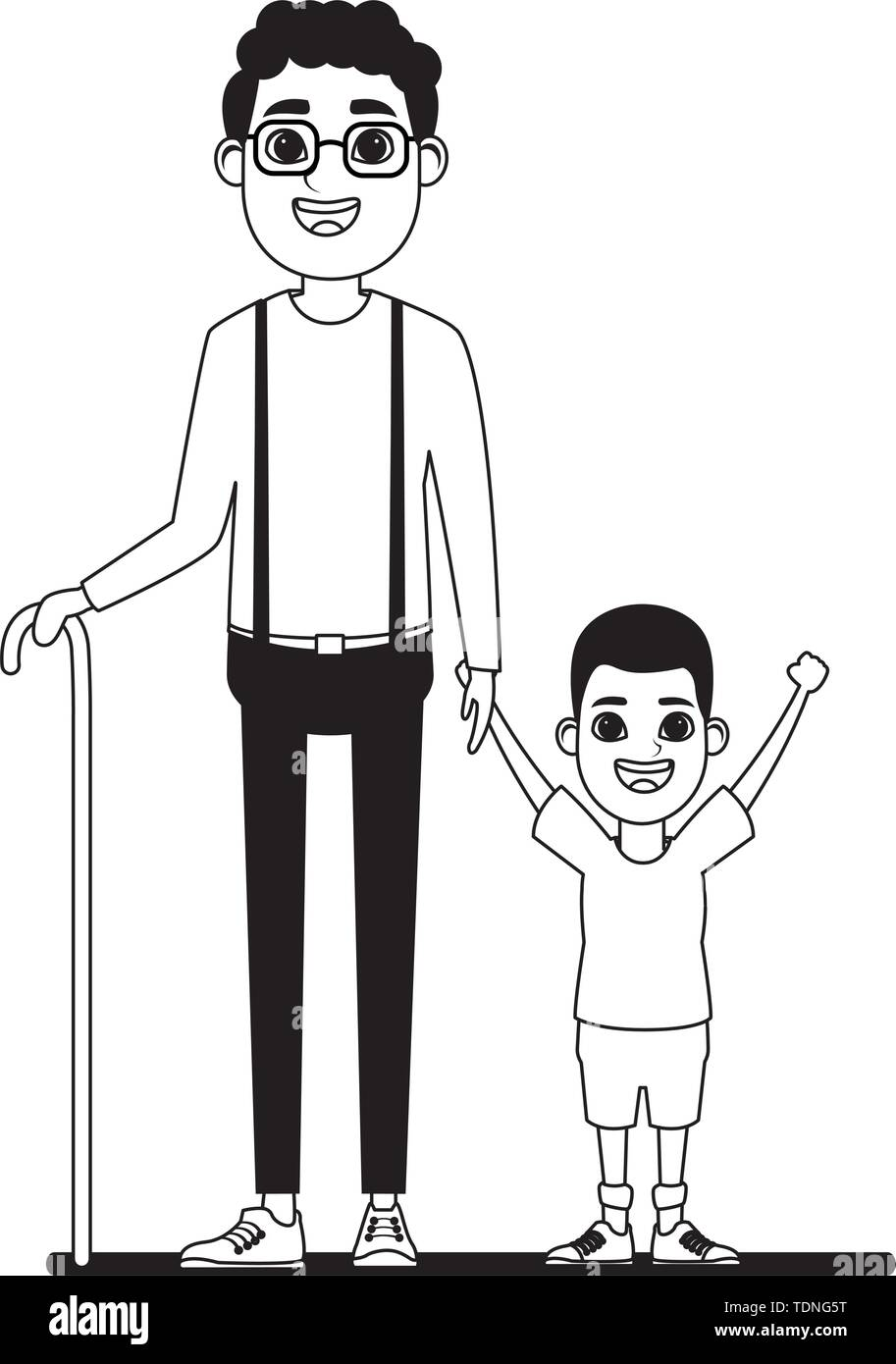 Familie avatar afroamerican Großvater mit glasse und Zuckerrohr Neben afroamerican junge Profil Bild Cartoon Character portrait in Schwarz und Weiß vec Stockbild