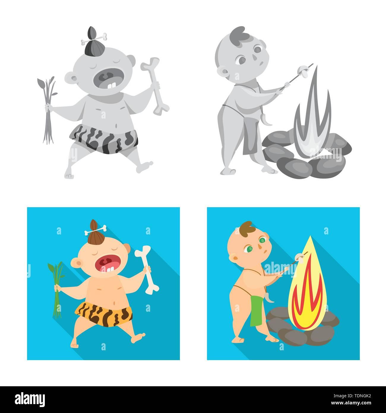 Vector Illustration der Evolution und Steinzeit Symbol. Sammlung von Evolution und Entwicklung vektor Symbol für das Lager. Stockbild