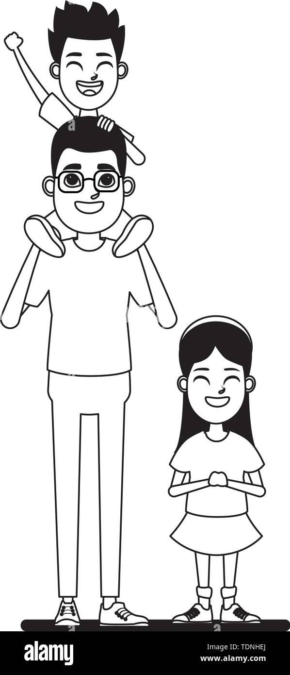 Familie avatar Vater mit Brille tragen ein Junge in der Schulter neben einem Kind Profil Bild Cartoon Character portrait Stockbild