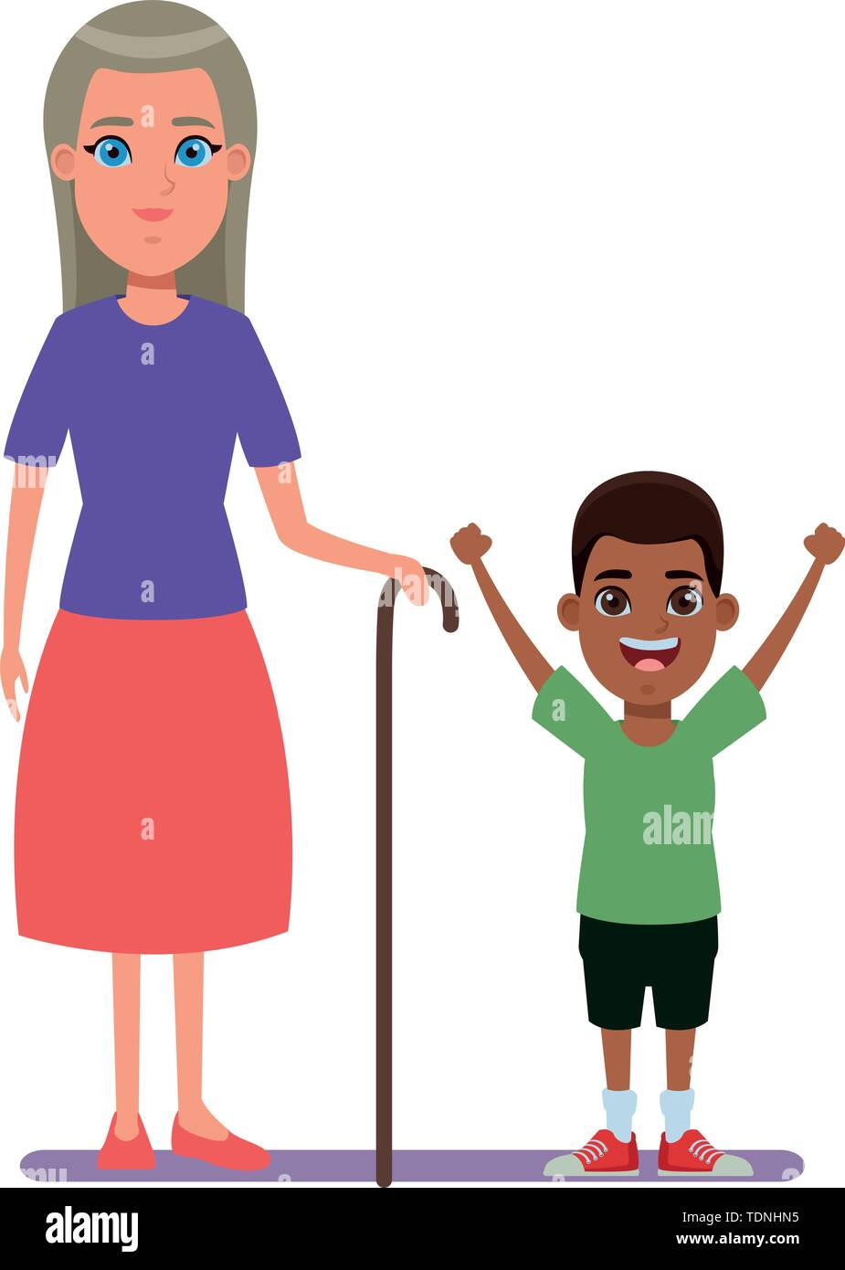 Familie avatar Großmutter mit Zuckerrohr Neben junge Profil Bild cartoon afroamerican Charakter portrait Vector Illustration graphic design Stockbild