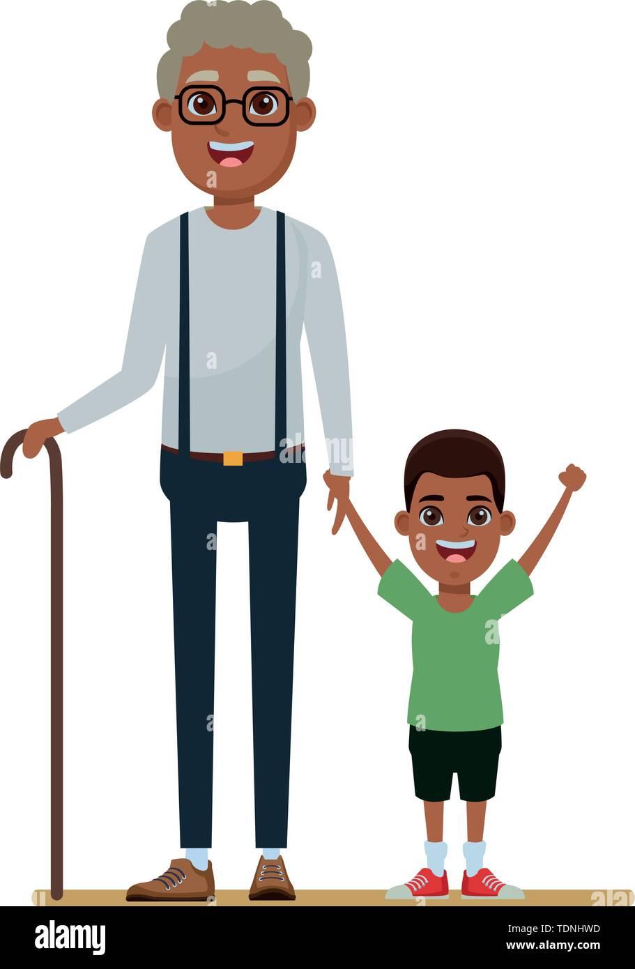 Familie avatar afroamerican Großvater mit glasse und Zuckerrohr Neben afroamerican junge Profil Bild Cartoon Character portrait Vektor-illustration gr Stockbild